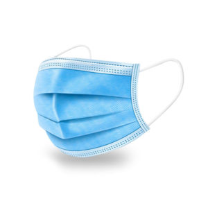 Images shows a mask made of 3 ply fabric that is light blue in colour. There are elasticated loops that go around behind the ears