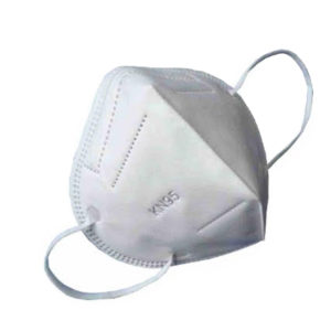 Image shows a KN95 respirator mask with the letters KN95 embossed. There are elasticated loops for securing on the head