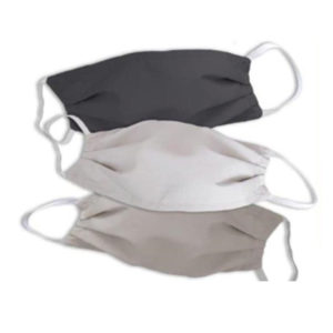 Image shows 3 cloth masks with elasticated loops for civilian use