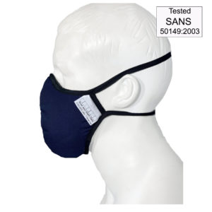 Images shows multi-layer masks in a navy colour with black binding on the edges. There is a stamp for testing according to SANS 50149:2003
