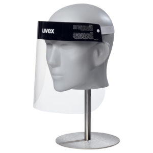 image shows an anti-fog face shield made of PET that is branded uvex with a white elastic head band