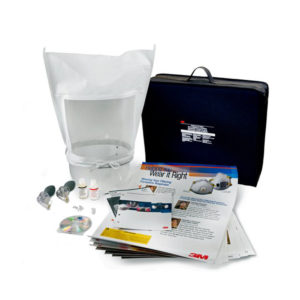 "3m ft20 fit test kit sweet with 3M training material titled ""Helping you wear it right"", fit test solution bottles, a CD branded 3M, a black 3M branded carry case and white hood with clear front for viewing through"