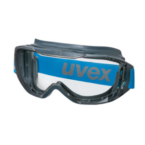 uvex megasonic goggle with broad blue head band and clear lens