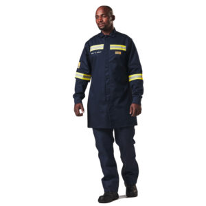 Dromex Arc Dust Coat 15cal is navy blue in colour with reflective strips on elbows and chest