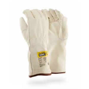 Dromex Arc Leather Gloves 51 cal are off white in colour with brown binding around the wrists