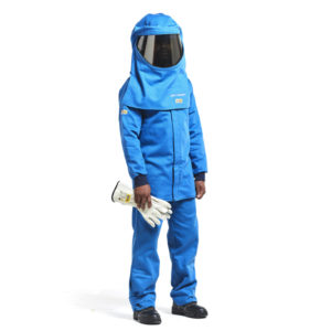 Dromex Arc Suit 55 cal is blue in colour and consists of jacket, hood, bib and brace, with elasticated cuffs and velcro on ankles