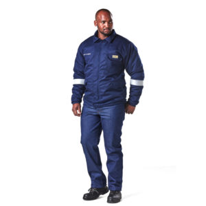 Dromex Thermal Jacket 25 cal is dark blue in colour with silver reflective tape just below elbows, and a breast pocket with flap