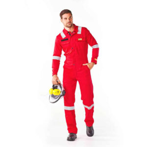 Dromex oil and gas boilersuit Poseidon 220 is red in colour with silver reflective tape on knees, elbows and shoulders