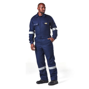 Dromex Arc boilersuit 15 cal is dark blue in colour, with reflective tape on the knees and elbows