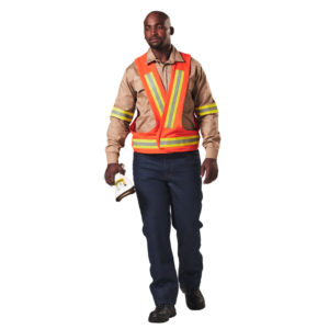 Dromex arc x bib 15 cal is a bib or vest that is high viz orange in colour with yellow and silver reflective tape
