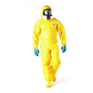 Dromex disposable coverall Promax C4000 is a bright yellow coverall, shown here with full face respirator and filters and green gloves
