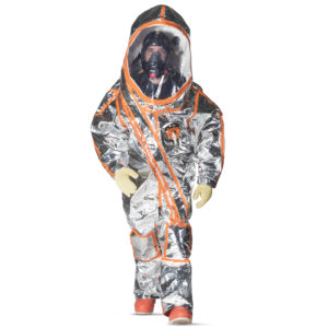 Kappler Frontline 500 Fully Encapsulated Suit is silver with orange trim | Chemical Workwear | Delta Health and Safety