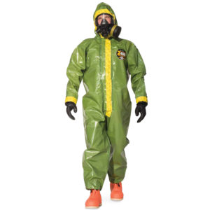 Kappler Zytron 400 Coverall with hood is olive green in colour with yellow trim on seams | Chemical Workwear | Delta and Health Safety Equipment