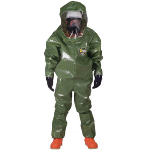 Kappler Zytron 400 Level B Fully Encapsulated Suit is dark green in colour | Chemical Workwear | Delta Health and Safety