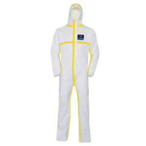 uvex disposable coverall type 3B chem classic is a white coverall and hood with yellow trim on all seams | Protective Clothing | Delta Health and Safety