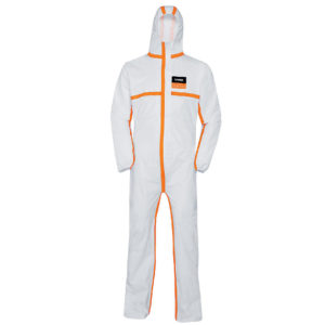 uvex disposable coverall type 4B classic is a white coverall with hood and orange trim on all seams | Protective Clothing | Delta Health and Safety